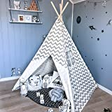 Tiny Land Teepee Tent for Kids, Children Play Tent for Indoor & Outdoor, 5' Gray Chevron Cotton Canvas Teepee (Color: Gray White Chevron)