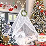 Kids Teepee Tent for Girls, Sheer Lace Indoor and Outdoor Canopy and Creative Play Space | White Room Decor | Bohemian Theme Lace (Color: White Lace, Tamaño: 5 ft-4 POLES)