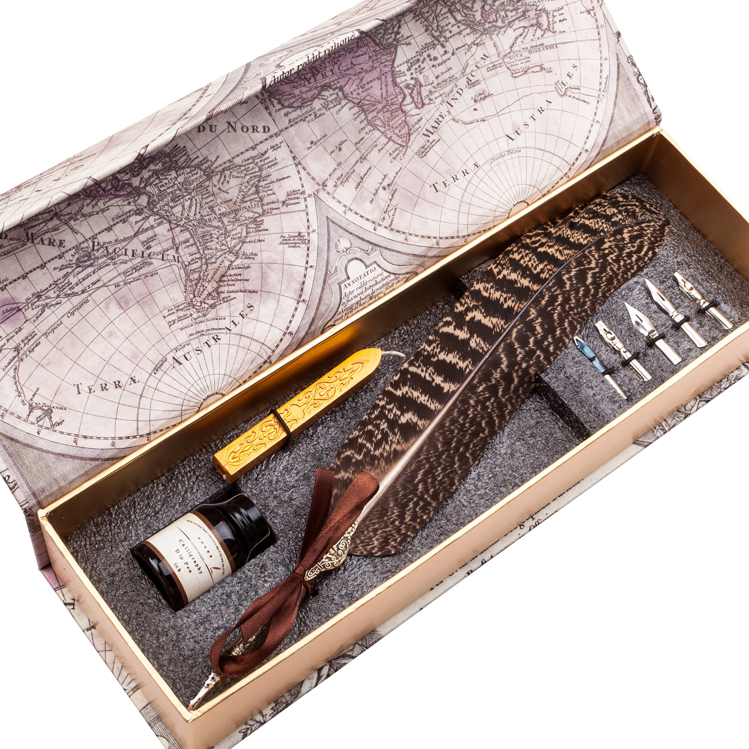 Unique Beautiful Feather Calligraphy Dip Pen Set Writing