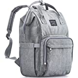 KiddyCare Diaper Bag Backpack - Multi-Function Waterproof Maternity Nappy Bags for Travel with Baby - Large Capacity, Durable and Stylish, Gray (Color: Gray)