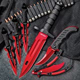 Black Legion Red Fury Knife Set – Stainless Steel Blades, Heavy-Duty TPU Handles, Sheaths Included, Survival, Throwing And Pocket Knives, Butterfly Trainer
