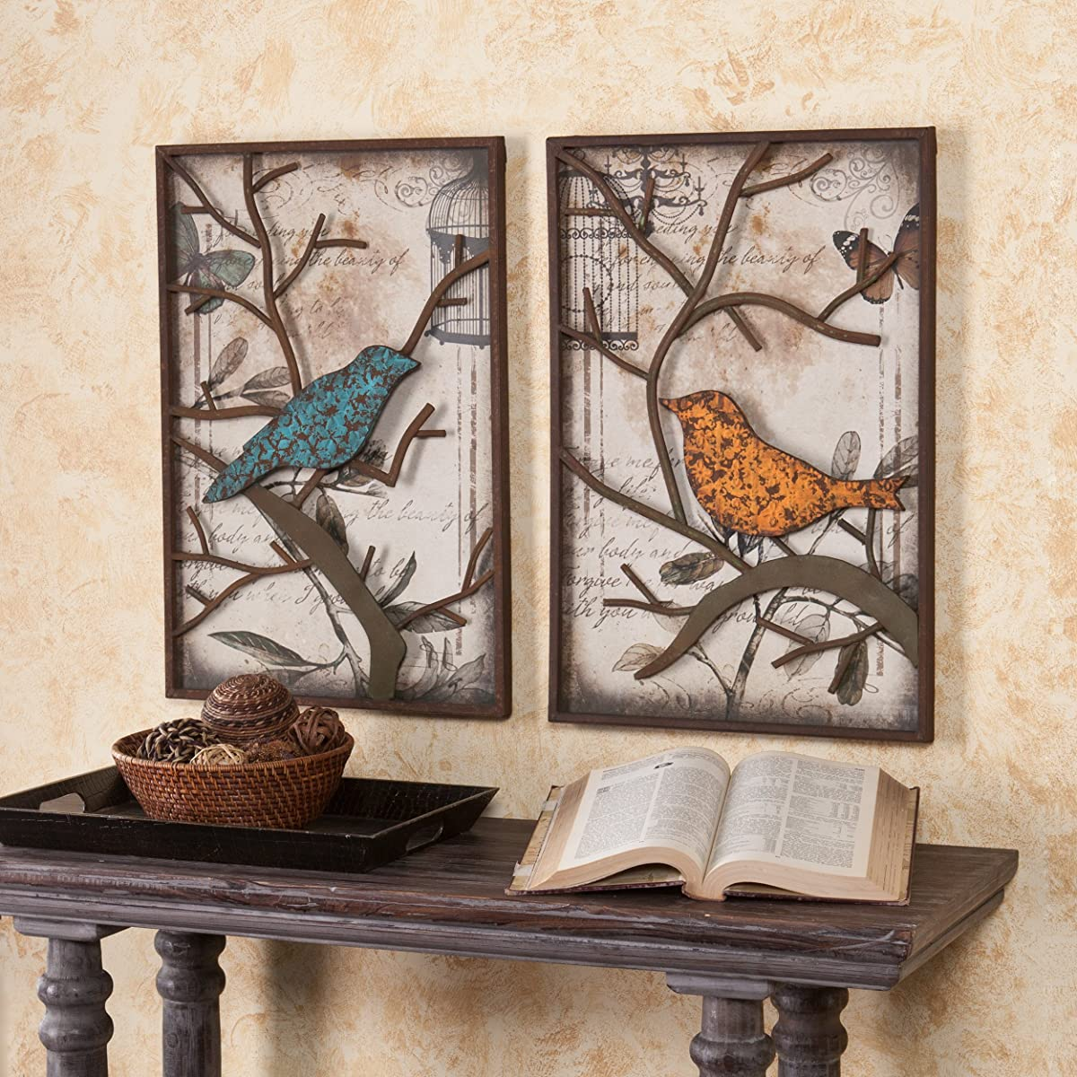 SEI Cranston Vintage Bird Wall Panel, Set of 2