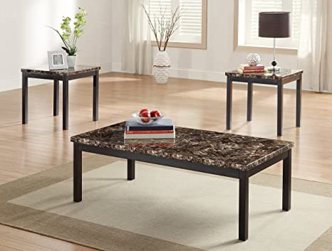 Tempe 3 Piece Coffee Table Set with Faux Marble Top by Homelegance