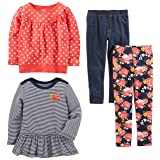 Simple Joys by Carter's Toddler Girls 4-Piece Playwear Set, Red Dot, 4T (Color: Red Dot, Tamaño: 4T)