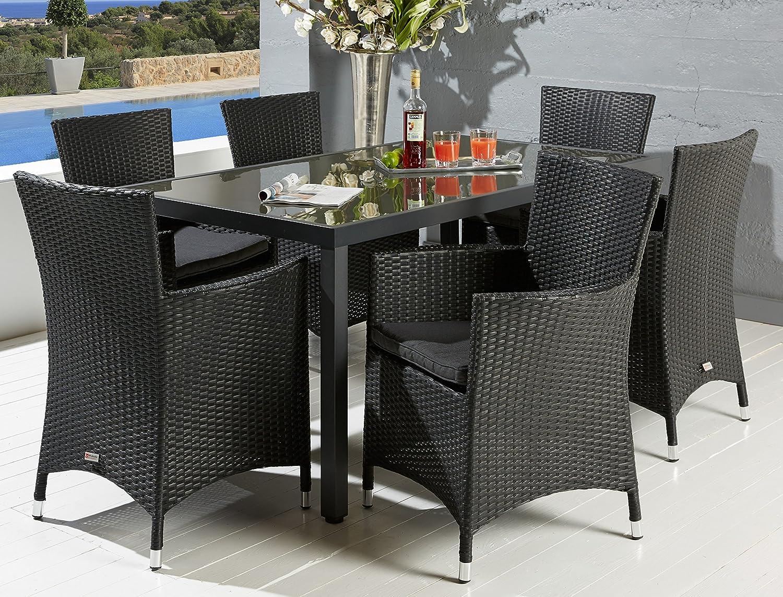 Hochwertige Garten Tischgruppe Polyrattan mit rostfreiem Alugestell Gartenstuhl Sessel Rattan Stuhl Gartenstühle Gartenmöbel