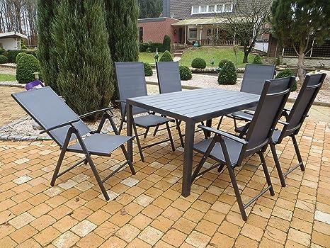 """7-teilige absolut wetterfeste Gartenmöbelgruppe """"Burn anthrazit"""", Aluminium Textilen Klappsessel und Polywood Gartentisch, aus dem Hause Pure Home & Garden"""