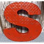 "Fun 20"" x 20"" x 2"" All Metal 3-D Industrial RED Metal Wall LETTER "" S "" Wall Art Decor"