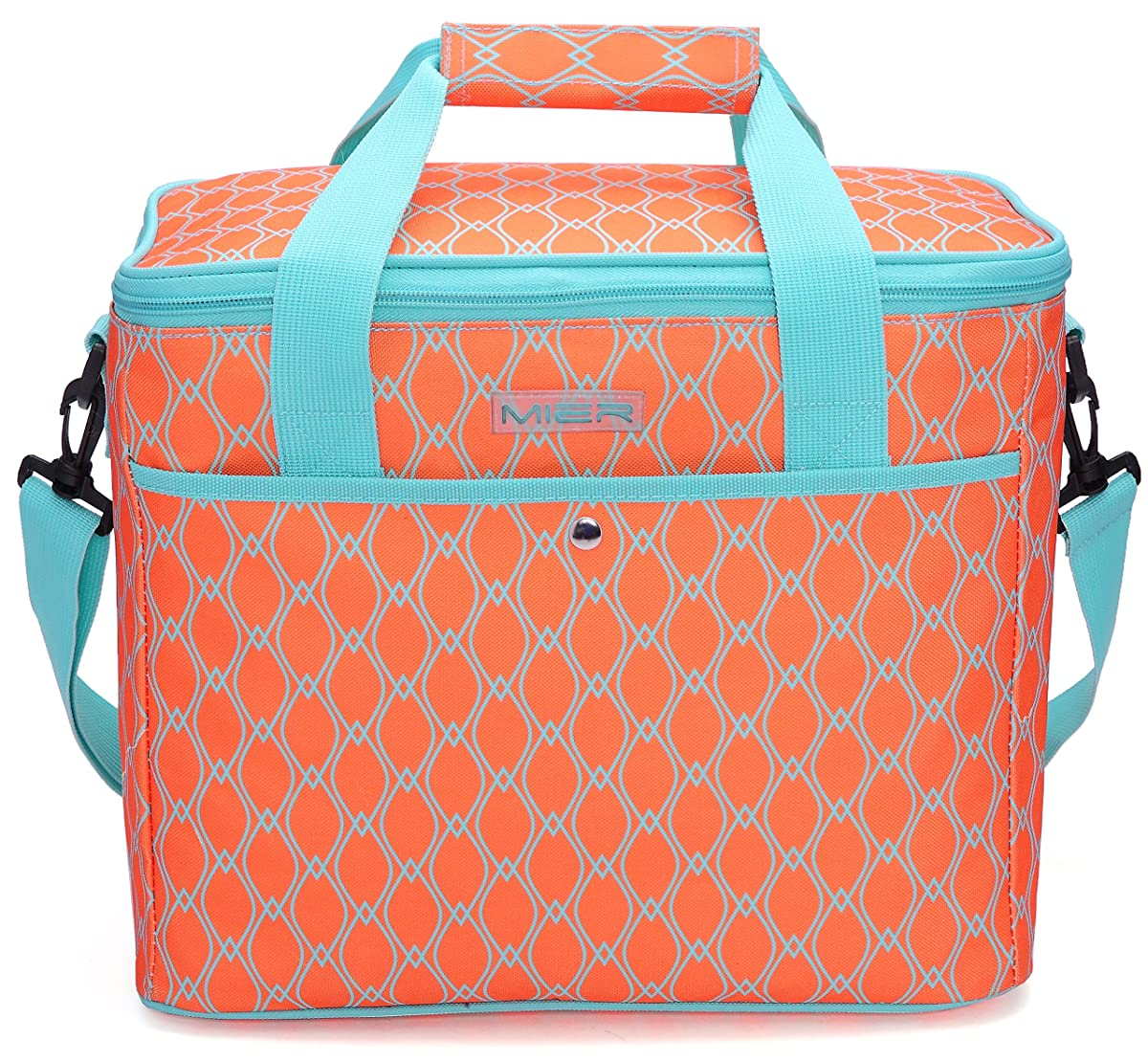 MIER 18L Large Soft Cooler Insulated Picnic Bag for Grocery, Camping, Car, Bright Orange Color