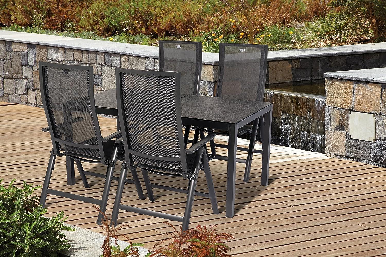 Hartman Alu Gartenset Gartenstuhl Gartentisch 5 tlg. 4 Klappsessel 1 Tisch Adelaide Gartenmöbel Möbelset