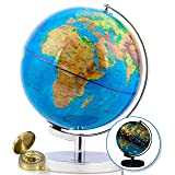 9 Inch World Globe & Compass by GetLifeBasics: See The Earth and The Stars in Details. Large Illuminated Constellation View Night, Kids Educational Astronomy & Geographic Map (Color: Geographic Map, Tamaño: 9 Inch)