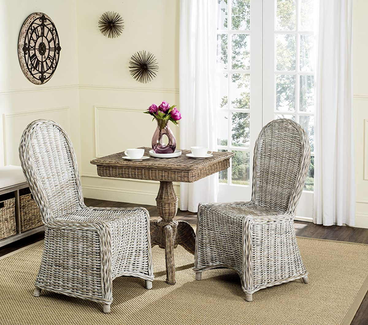 Safavieh Home Collection Idola White Wash Wicker Dining Chair (Set of 2), 19""