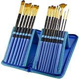 Paint Brushes - 15 Pc Brush Set for Watercolor, Acrylic, Oil & Face Painting | Long Handle Artist Paintbrushes with Travel Holder (Cool Blue) & Free Gift Box | Art Supplies by MyArtscapeTM (Color: Cool Blue)