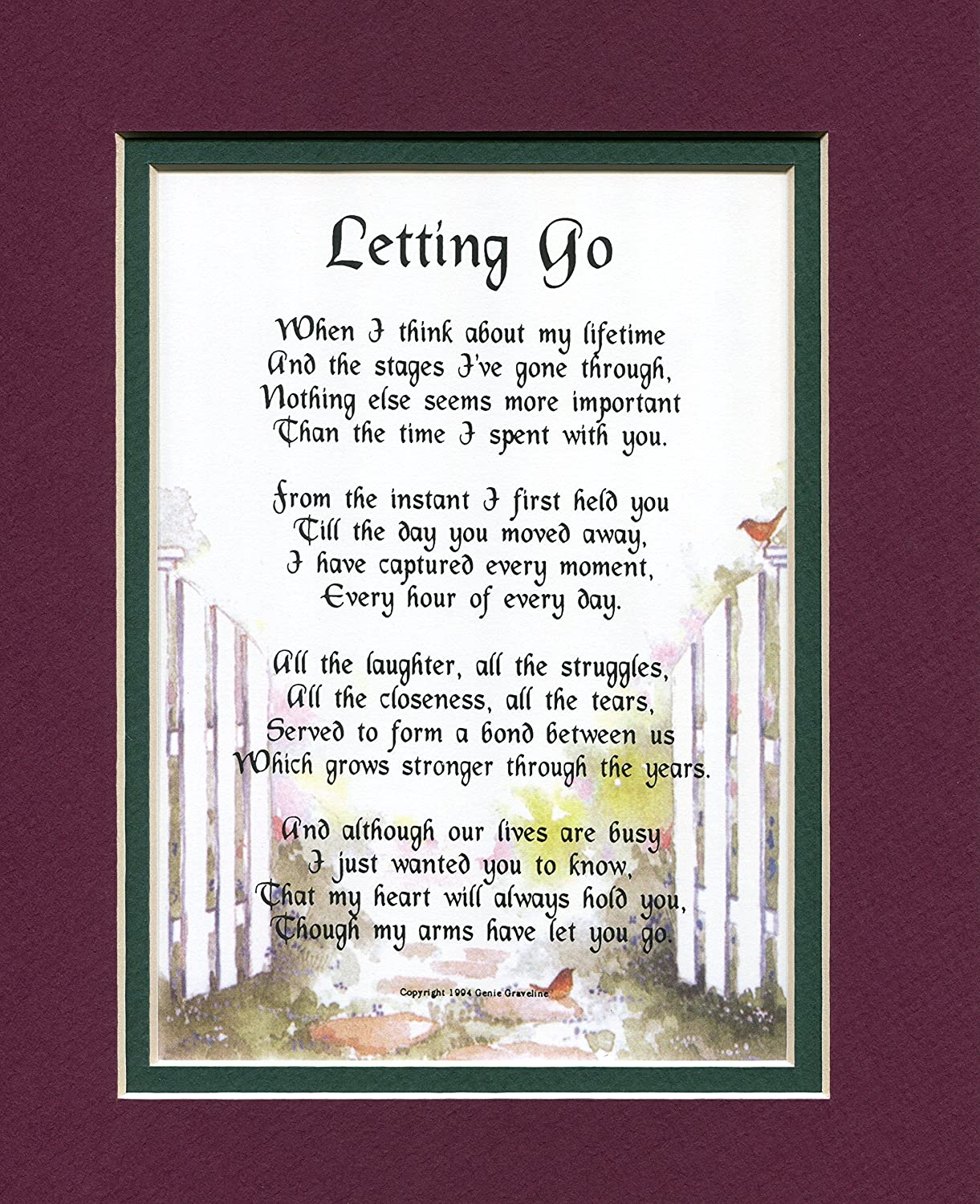 A Gift For A Son Or Daughter, # 60B, Touching 8×10 Poem, Double-matted In Burgundy/Dark Green And Enhanced With Watercolor Graphics. – Home Decor Gift Packages