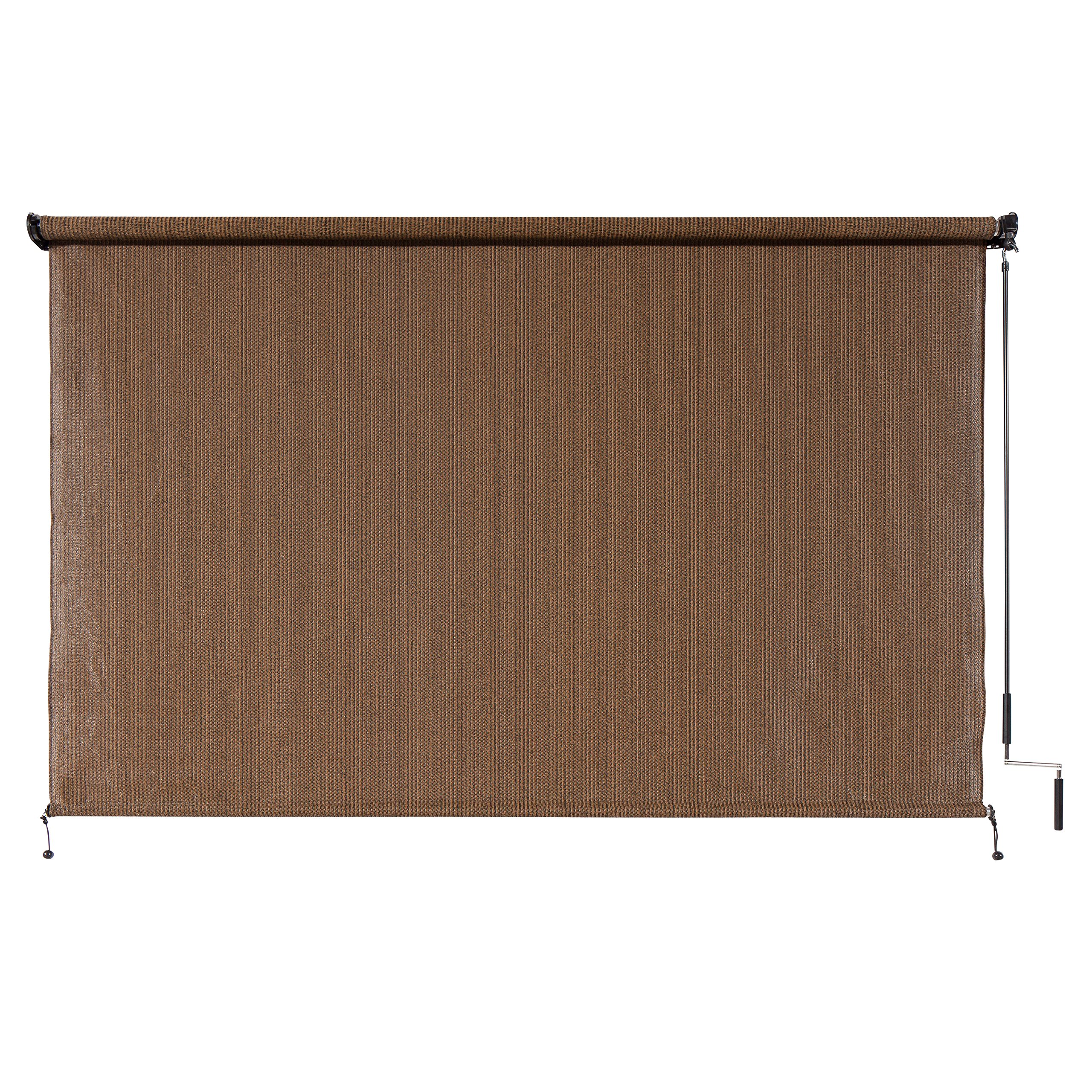 Coolaroo exterior cordless roller shade 8ft by 6ft mocha for Exterior roller shade