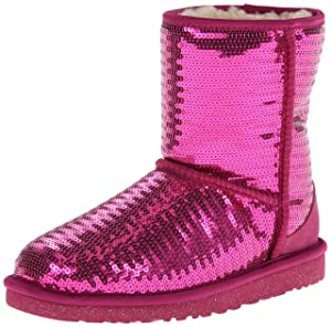 Image UGG Australia Girl's Classic Short Sparkles Sheepskin Boot