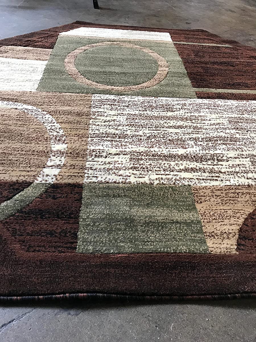 Modern Octagon Area Rug Brown With Green Americana Design