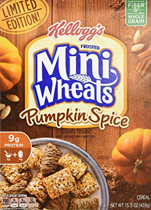 Frosted Mini-Wheats Kellogg's Breakfast Cereal, Pumpkin Spice, Low Fat, Excellent Source of Fiber, Limited Edition, 15.5 oz Box (Tamaño: 15.5-Ounce Box (Pack of 1))