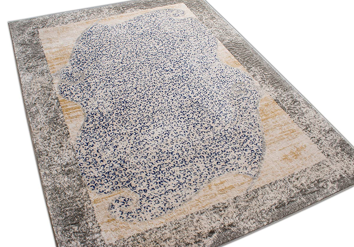 "Serenade Merola Blue & Beige Animal Print Area Rug 5 x 7 (53"" x 73"") Modern Absract Leopard Zebra Print Border"