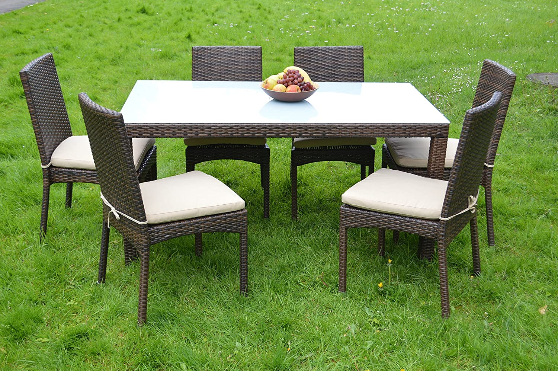 Gartenmöbel Essgruppe Rattan Dinning Set in Aluminium Rostfrei (Tisch+6 Stühle)