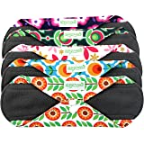 Wegreeco Bamboo Reusable Sanitary Pads - Cloth Sanitary Pads - Pack of 5 (Large,Flower) (Color: Flower, Tamaño: Large)