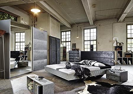 Schlafzimmerset JAMES 5 Teilig metalloptik Schrank Kommoden Bett