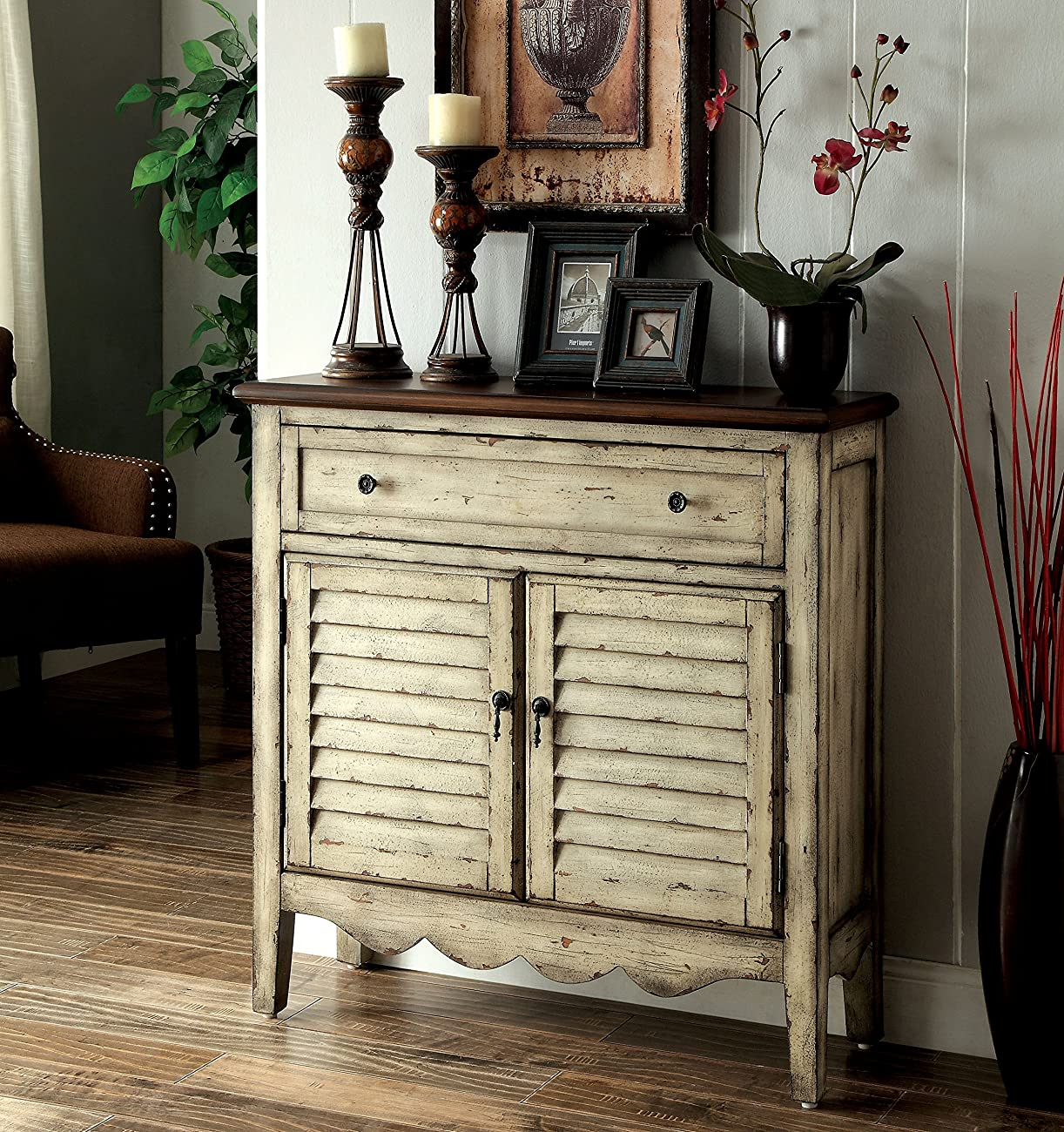 Furniture of America Gladen Vintage Style Storage Cabinet, Antique White/Brown 0