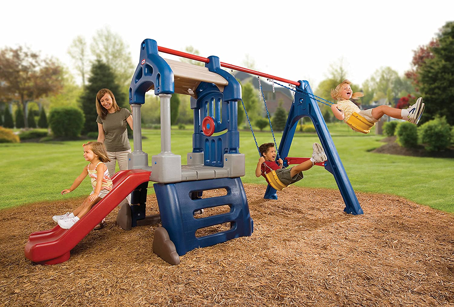An Image of Little Tikes Clubhouse Swing Set