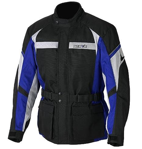NERVE 1510110202_02 Smart Blouson Moto Touring Textile, Noir/Bleu, Taille : S