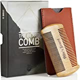 Beard Comb for Men - Wooden Natural Sandalwood Antistatic No Static Dual Action Beard Comb - Fine & Coarse Tooth Perfect for Balms and Oils - Includes PU Leather Case - Presented in Cardboard Gift Box (Tamaño: Beard Comb)