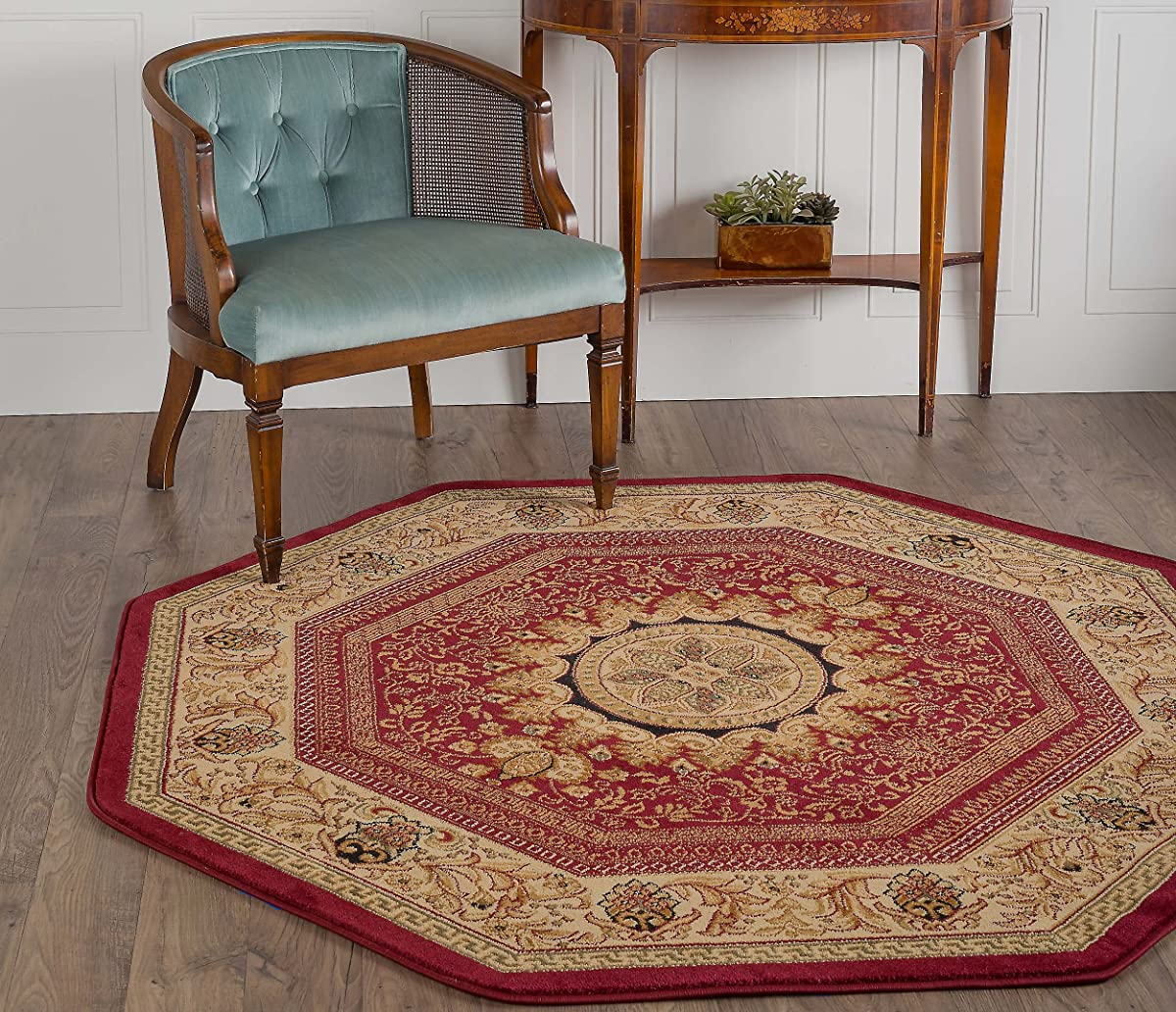 Universal Rugs Jayden Traditional Oriental Red Octagon Area Rug, 6 Octagon