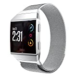 Aresh for Fitbit Ionic Bands Large Small, Magnetic Milanese Loop Stainless Steel Magnet Lock Band for Fitbit Ionic Smartwatch(Silver-large)(Wrist Size 6.7