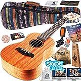Ukulele Starter Kit - Includes Mahogany Uke, Compression Sponge Case, Aquila Strings, Felt Picks, Tuner, Chord Stamp, Chord Chart, Leather Strap with Live Online Lessons (Color: Tacano Bag, Tamaño: Concert)