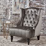 Talisa Winged High-Back Tufted New Velvet Club Chair (Grey)