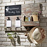 Torched Wood Wall Mounted Chalkboard Memo Clips, Mail Sorter and Key Hooks, Entryway All-in-One Organizer (Color: Brown)