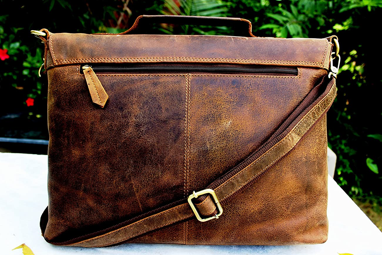 Handolederco Rustic Buffalo Hide Leather Messenger Laptop Shoulder Bag for Men and Women 2