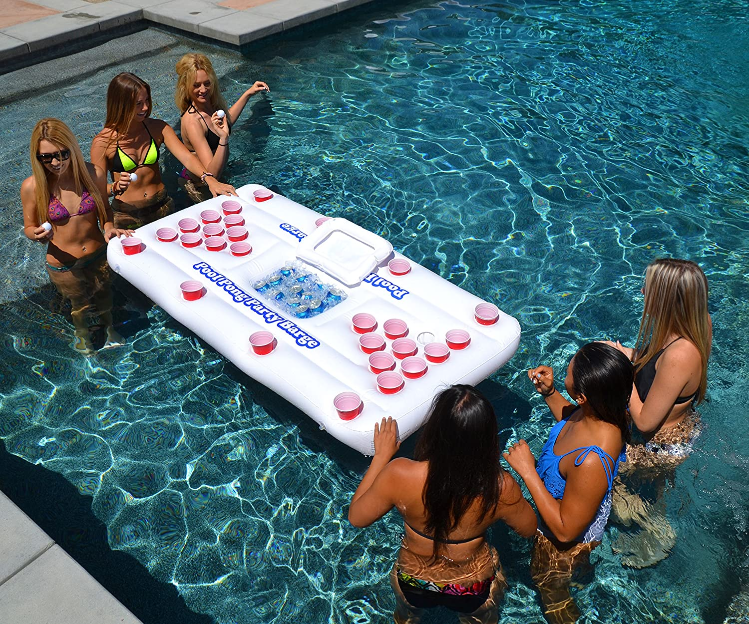 floating beer pong table inflatable float raft island swimming pool party barge ebay