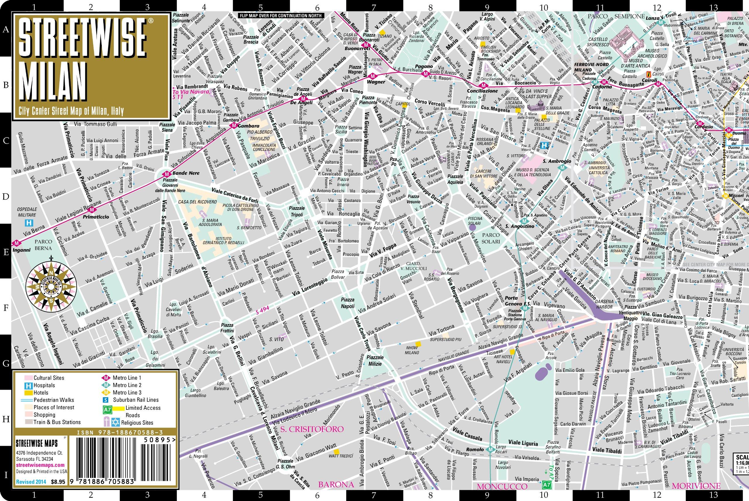 Streetwise Roma Mapa - laminado Centro de la ciudad callejero de Roma, Italia - Bolsillo plegable viajes tamaño
