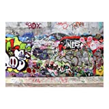 Non-Woven Wallpaper Graffiti Wide, 114.2 x 170.1 inches (Color: Multicolor, Tamaño: 114.2x170.1 inches)