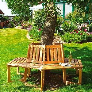 PROMADINO Baumbank für halben Baum 90 cm x 178 cm x 205 cmÜberprüfung und Beschreibung