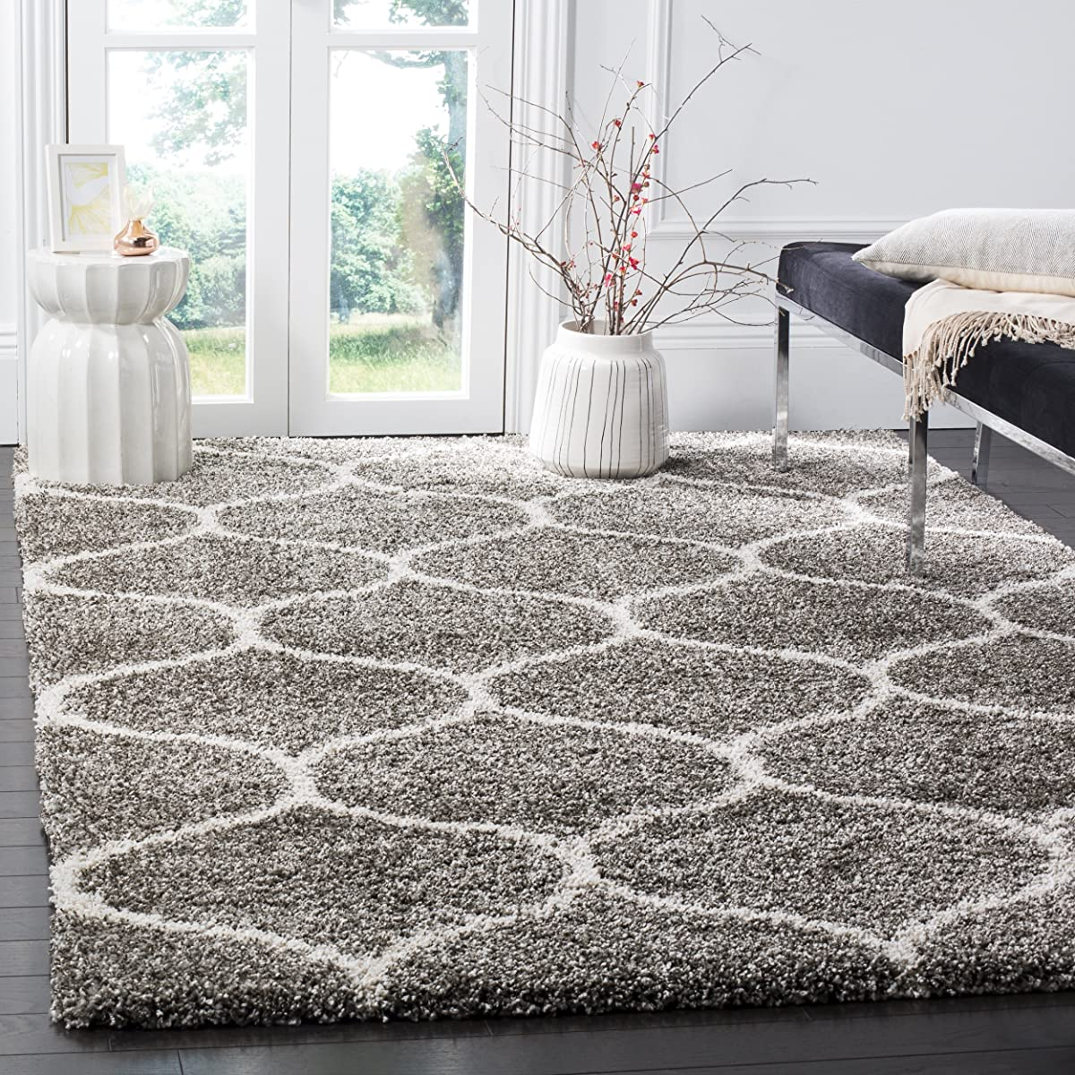 Safavieh Hudson Shag Collection Sgh280b Grey And Ivory