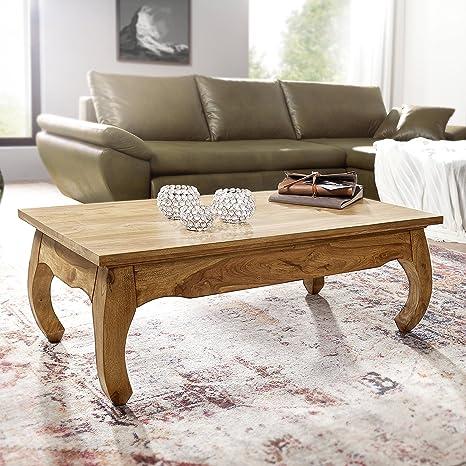 FineBuy legno massello tavolino Acacia 110 cm di larghezza tavolo da pranzo design marrone stile rustico tavolino prodotto naturale Mobili Soggiorno unico e moderno mobili in legno massiccio in legno massiccio rettangolare