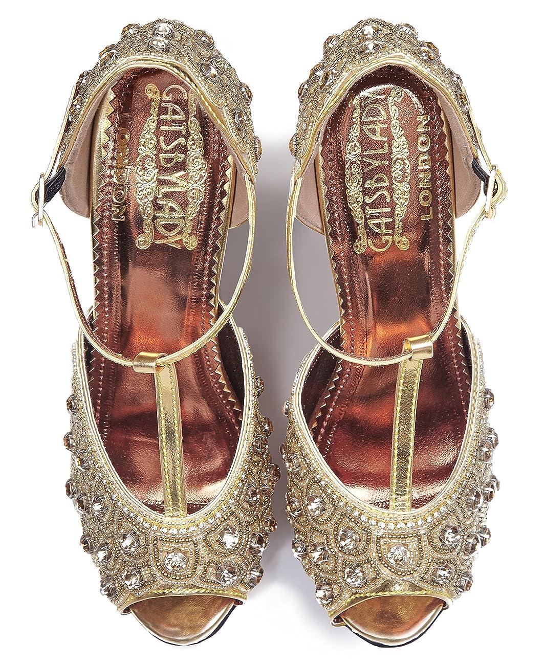 Donna Vintage Inspired T-Strap Heels in Gold 1