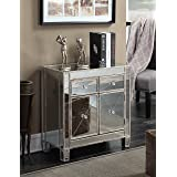 Convenience Concepts Gold Coast Vineyard 2-Drawer Mirrored Cabinet, Weathered White (Color: Weathered White)