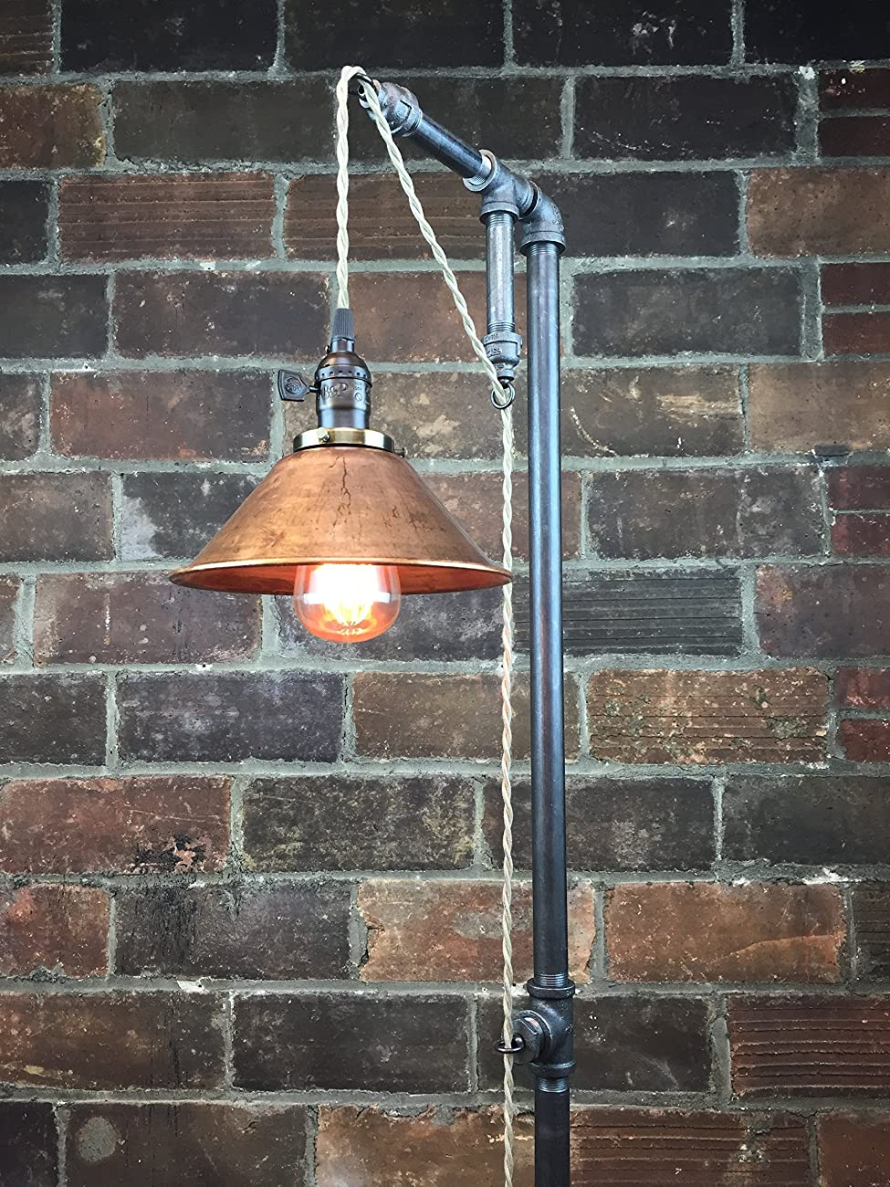 Industrial Style Floor Lamp - Pendant Edison Bulb - Copper Shade 2