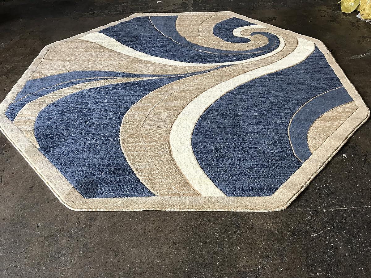 Modern Octagon Area Rug Blue Beige Swirl Americana Design 144 (7 Feet 3 Inch X 7 Feet 3 Inch )