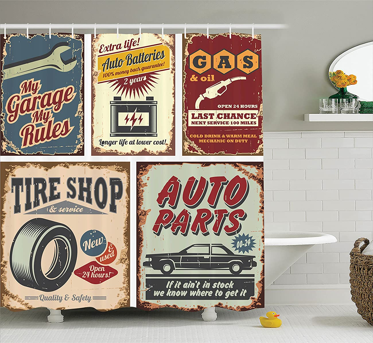 Ambesonne 1950s Decor Collection, Vintage Car Metal Signs Automobile Advertising Repair Vehicle Garage Classics Servicing Image, Polyester Fabric Bathroom Shower Curtain Set, 75 Inches Long, Burgundy 0