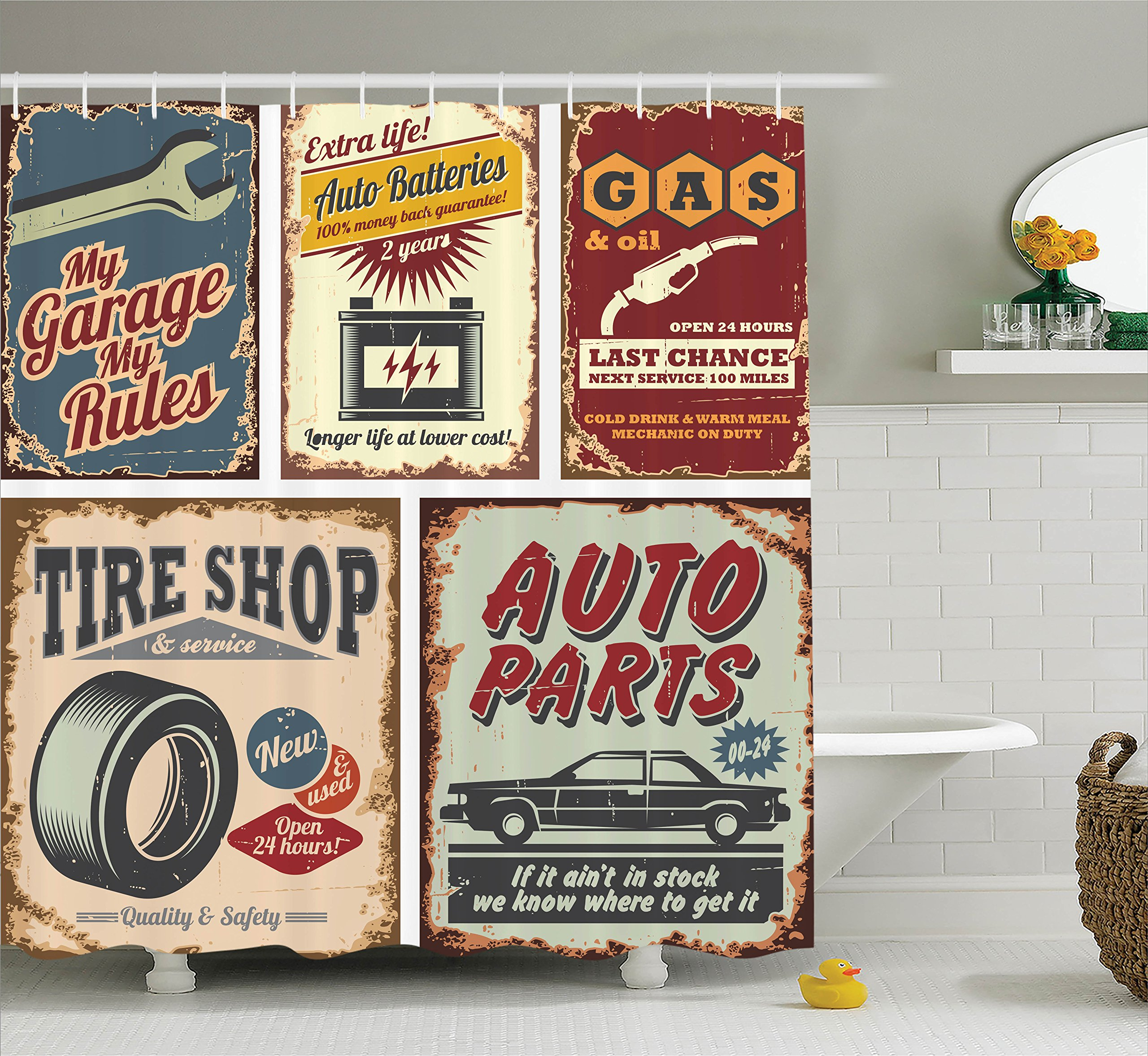 Ambesonne 1950s Decor Collection Vintage Car Metal Signs Automobile Advertising Repair Vehicle