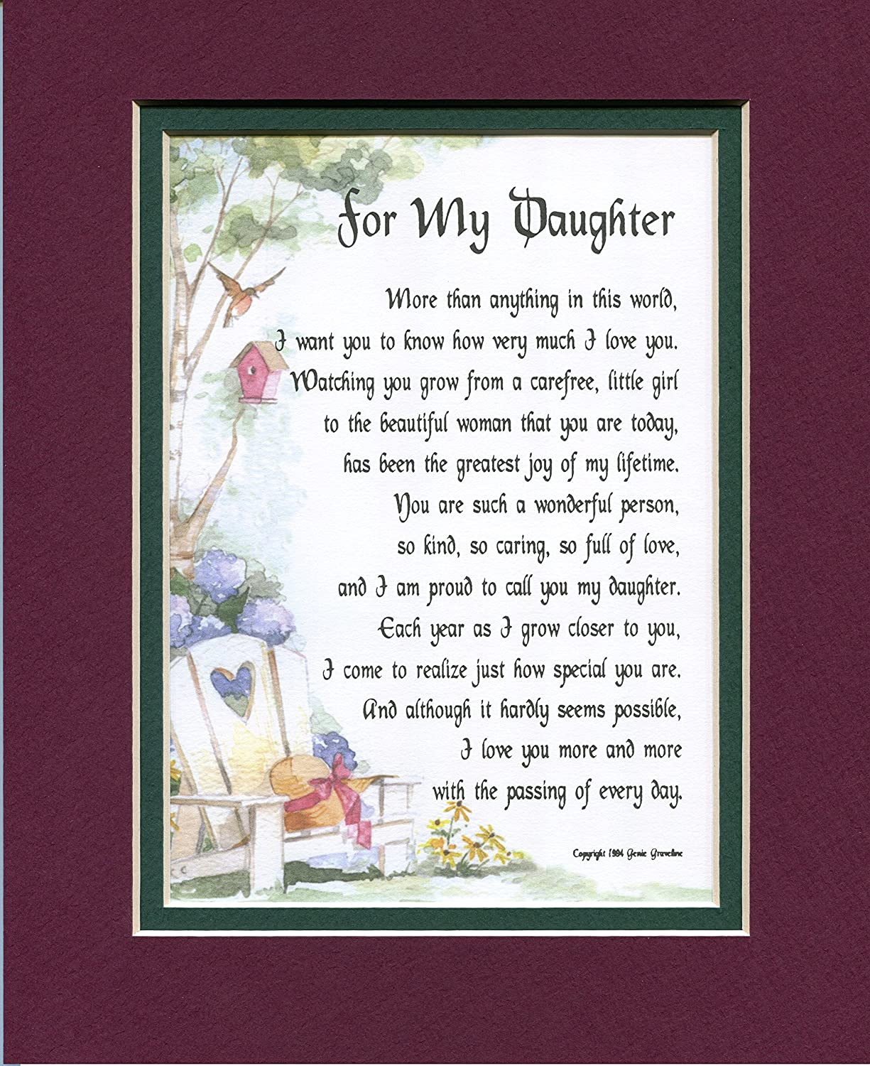 A Gift for a Daughter. #47, a Touching 8×10 Poem, Double-matted in Burgundy Over Dark Green and Enhanced with Watercolor Graphics. – Home Decor Gift Packages