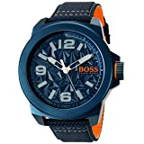 BOSS Orange Men's 'NEW YORK' Quartz Resin and Canvas Casual Watch, Color:Blue (Model: 1513353)