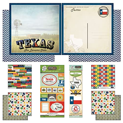 Scrapbook Customs Themed Paper and Stickers Scrapbook Kit Texas Vintage